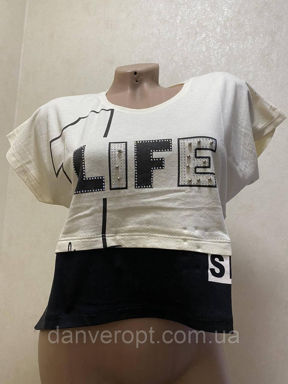 Футболка женская стильная LIFE размер S-XL, купить оптом со склада 7км Одесса