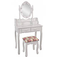 Туалетный Столик косметический с подсветкой и стульчиком ( красная оббивка) трюмо Bonro дерево + МДФ Белый