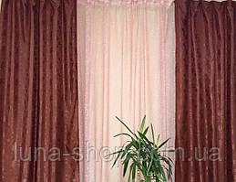 Комплект штор з тюлем Сузір'я, жаккард+органза, бордовий
