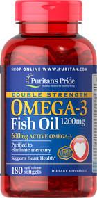 Комплекс незамінних жирних кислот Puritan's Pride Omega 3 Fish Oil 1200 mg (180 кап)
