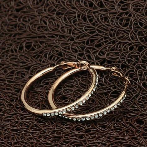 Сережки кільця жіночі з камінчиками позолота 18К, фото 2