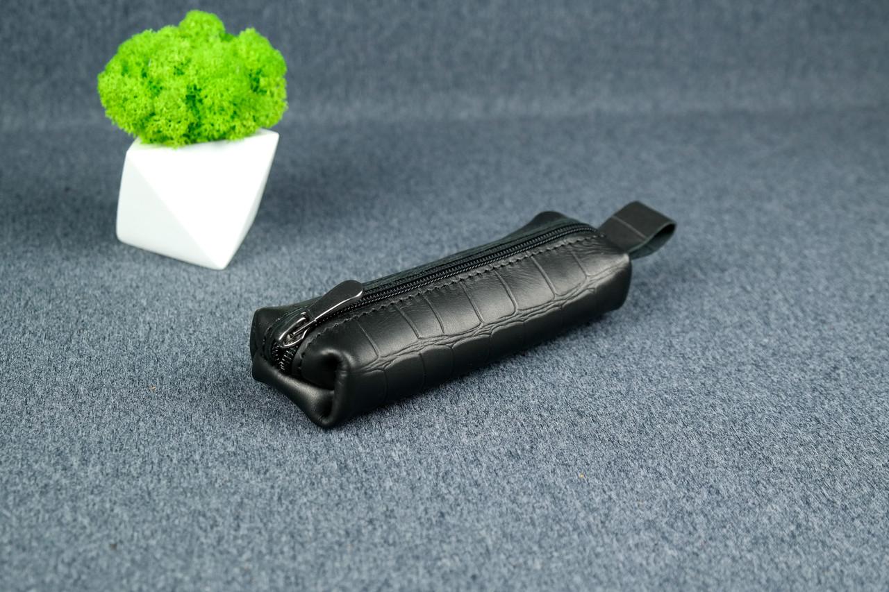 Ключниця на блискавки, шкіра Італійський краст, колір Чорний, тиснення №2