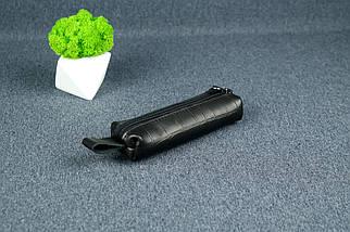 Ключниця на блискавки, шкіра Італійський краст, колір Чорний, тиснення №2, фото 2