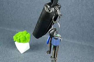 Ключниця на блискавки, шкіра Італійський краст, колір Чорний, тиснення №2, фото 3