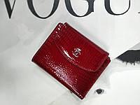 Женский кожаный кошелек на кнопке, маленького размера, красный, змеиный принт