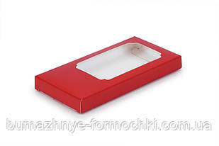 Коробка для шоколада, красная, 155х75х11