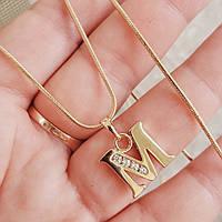 Кулон буква M с цепочкой снейк 1мм 50см xuping медицинское золото позолота 18К  5304