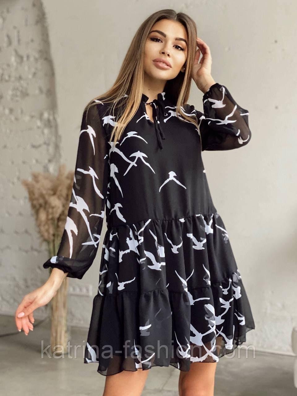Платье женское шифоновое черное