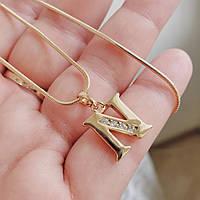 Кулон літера N з ланцюжком снейк 1мм 50см xuping медичне золото позолота 18К  5307