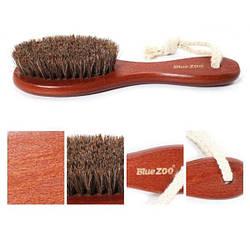 Дорожная щетка для массажа лица и тела BLUEZOO из натурального конского волоса