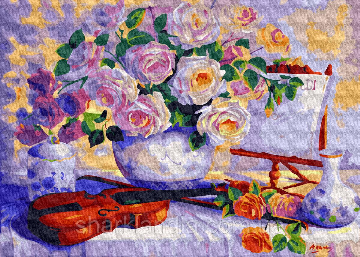 Картина по номерам Розы со скрипкой 40*50см Brushme Цветы