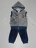 Детский костюм тройка на мальчика жилет реглан штаны рр. 74, 80 Турция