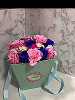 Букет з ніжних мильних троянд в коробці