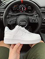 Мужские белые кроссовки Nike Air Force white low Найк Аир Форс белые натуральная кожа