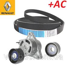 Комплект ремня генератора на Renault Trafic 2.5dCi G9U630 146л.с +AC (2006-2014) Renault (оригинал) 7701475193