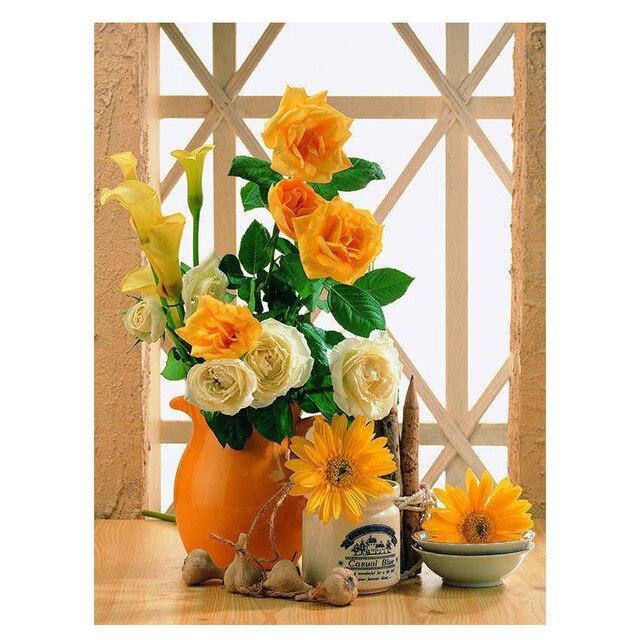 Картина по номерам 40×50 см. DIY Цветы в вазе (NX 9283)