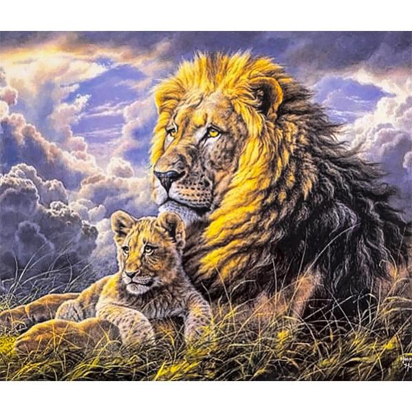 Картина по номерам 40×50 см. DIY Львы отец и сын (FX 30442)