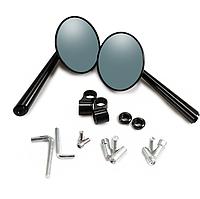 Мото дзеркала HONGPA MR-HP-120130, дзеркала чорні, мотозеркала, 8-10 мм, метал