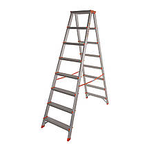 Стремянка двусторонняя алюминиевая Laddermaster Polaris A5A8. 2x8 ступенек
