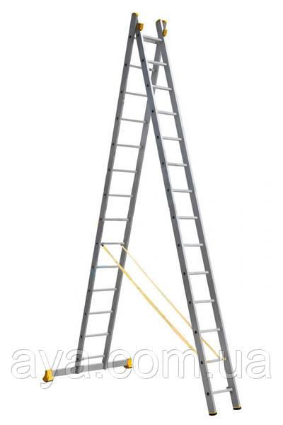 Драбина алюмінієва професійна двосекційна 2 на 14 сходинок