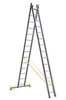 Драбина алюмінієва професійна двосекційна 2 на 14 сходинок, фото 1