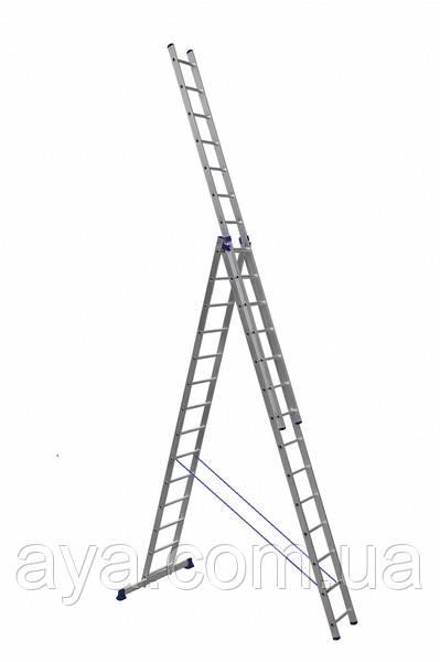 Драбина алюмінієва трисекційна універсальна 3 х 14 ступенів