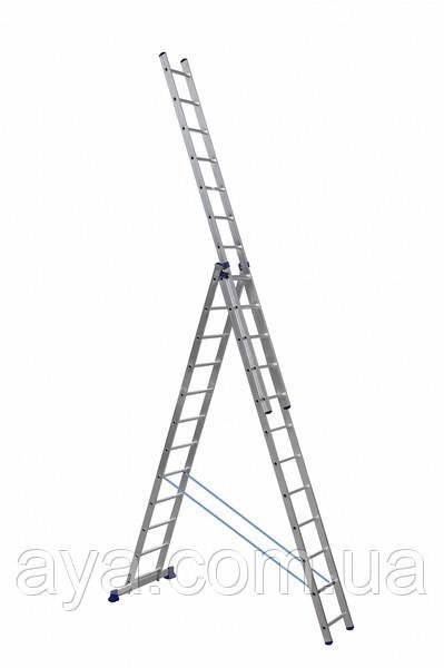 Алюминиевая трехсекционная лестница усиленная 3 х 12 ступеней (полупрофессиональная)