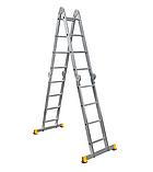 Сходи трансформер алюмінієва професійна чотирьохсекційна шарнірна 4 x 4 ступені, фото 8