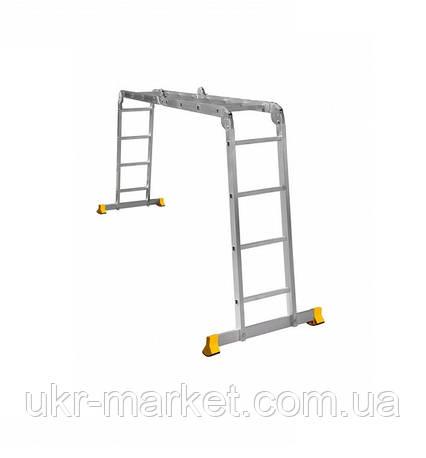 Сходи трансформер алюмінієва професійна чотирьохсекційна шарнірна 4 x 4 ступені, фото 2