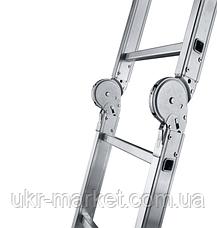 Сходи трансформер алюмінієва професійна чотирьохсекційна шарнірна 4 x 4 ступені, фото 3