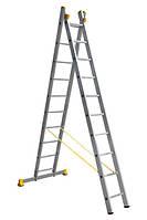 Лестница алюминиевая профессиональная двухсекционная 2 на 10 ступеней