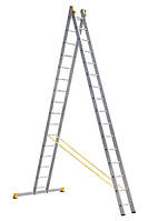 Лестница алюминиевая профессиональная двухсекционная 2 на 16 ступеней