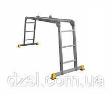 Лестница трансформер алюминиевая профессиональная четырехсекционная шарнирная 4 x 3 ступени