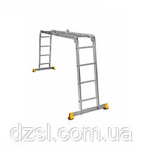 Лестница трансформер алюминиевая профессиональная четырехсекционная шарнирная 4 x 4 ступени