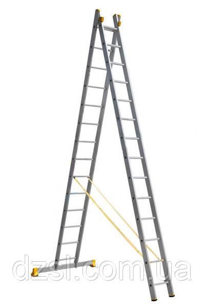 Лестница алюминиевая профессиональная двухсекционная 2 на 14 ступеней