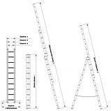 Лестница алюминиевая трехсекционная универсальная 3 х 14 ступеней, фото 5