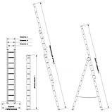 Лестница алюминиевая трехсекционная универсальная 3 х 20 ступеней (профессиональная), фото 6