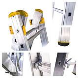 Лестница алюминиевая трехсекционная универсальная 3 х 20 ступеней (профессиональная), фото 7