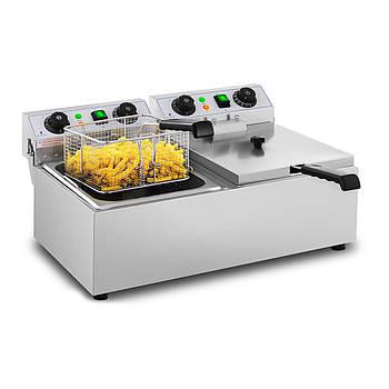 Фритюрница - 2 x 10 литров - 2 x 3200 Вт - таймер Royal Catering Марка Европы