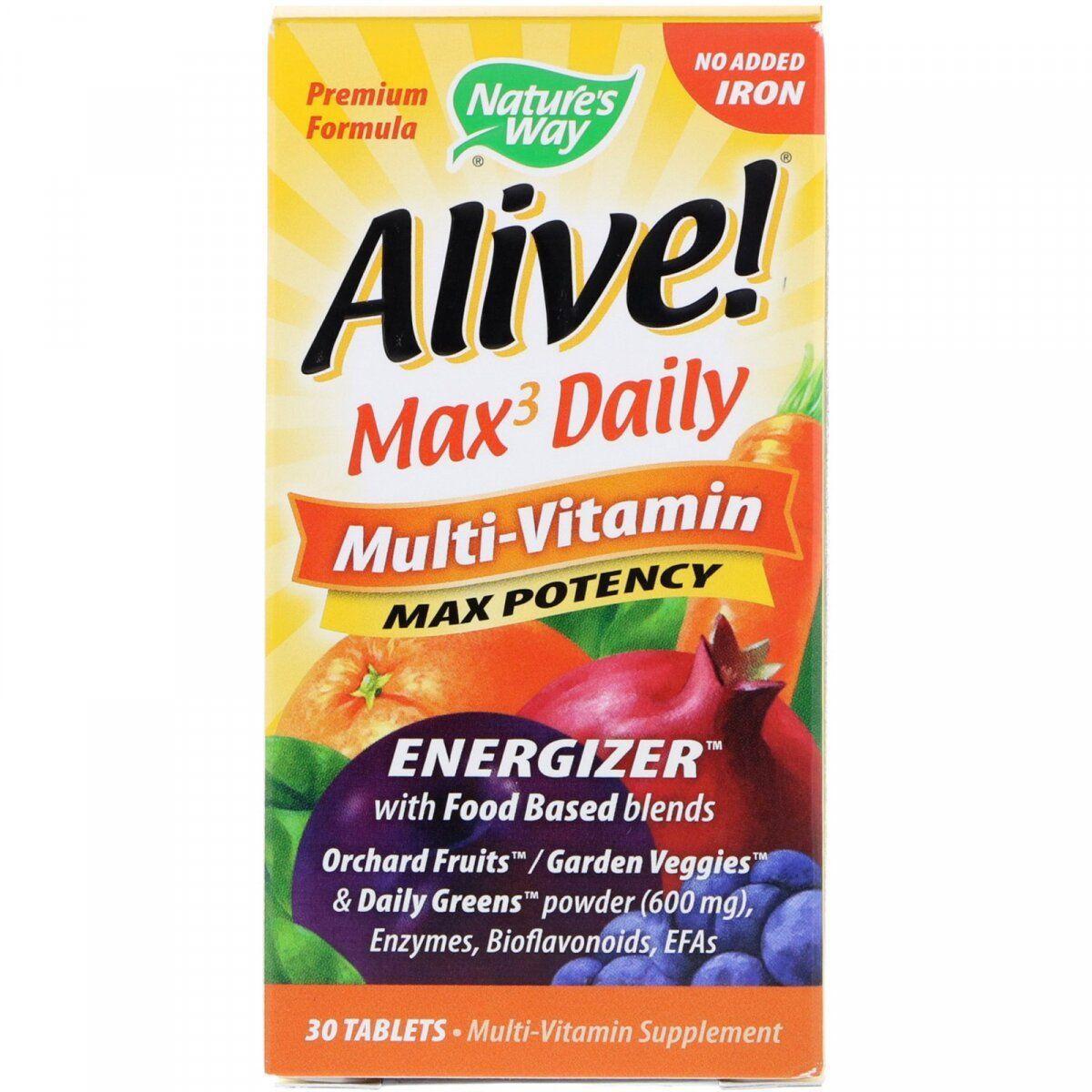 Nature's Way Alive! Max 3 Daily Multi-Vitamin, Мультивитаминный комплекс (30 таб.)