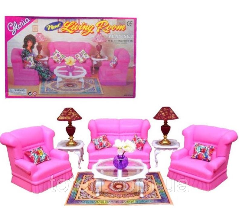 """Лялькова меблі 9704 Gloria """"Вітальня"""", диван, крісла, столик"""