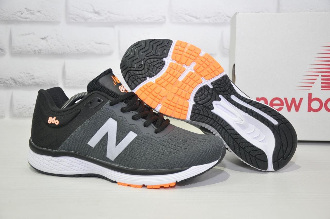 Кросівки чоловічі в стилі New Balance 860 темно сірі сітка