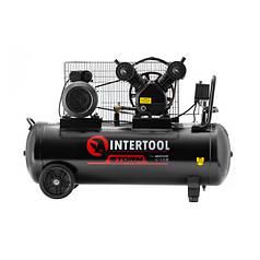 Компресор ремінний 100 л, 4 HP, 3 кВт, 220 В, 8 атм, 500 л/хв, 2 циліндри INTERTOOL PT-0014