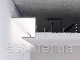 Алюмінієвий профіль світлотіньового шва для LED підсвічування по периметру примикання стіна-стеля для шва 25 мм