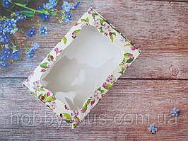 Коробка для изделий ручной работы с окном, 100х150х30 мм, цветочный принт (яблоня), 1шт