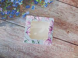 Коробка для изделий ручной работы с окном, 80х80х35 мм, цветочный принт (магнолия), 1 шт