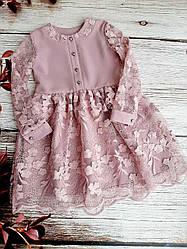 Детское платье с качественным гипюром размеры 128-146