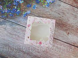 Коробка для изделий ручной работы с окном, 80х80х35 мм, цветочный принт (сердце/розы), 1 шт