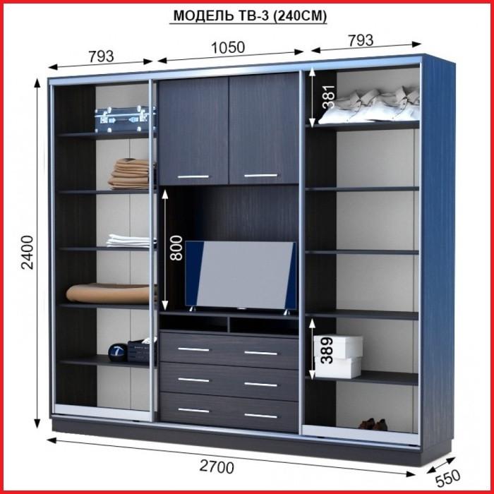 Шкаф купе ТВ-3 / ширина 2700 (Анабель)