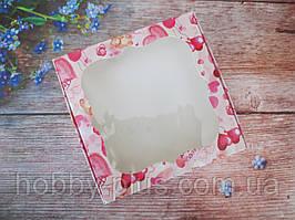 Коробка для изделий ручной работы с окном, 150х150х30 мм, цветная печать (love), 1шт